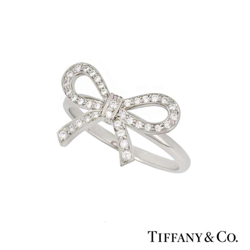 Tiffany & Co. Diamond Set Bow Ring in Platinum